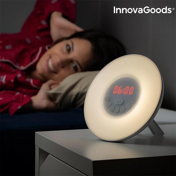 InnovaGoods LED FM USB radiovækkeur med solopgangseffekt hvid
